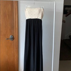 Strapless Lace and Black Maxi Dress